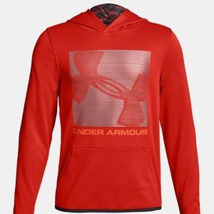 NWT Under Armour Boys' Armour Fleece Orange Hoodie